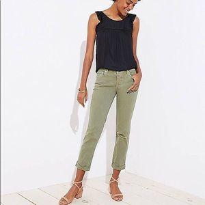 Olive Distressed LOFT Boyfriend Jeans